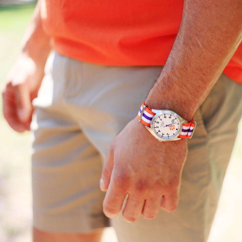 Watches - Clemson Tigers Unisex Nato Striped Strap Watch By Jack Mason