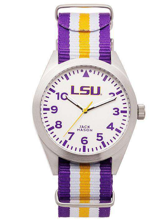 Watches - LSU Tigers Unisex Nato Striped Strap Watch By Jack Mason