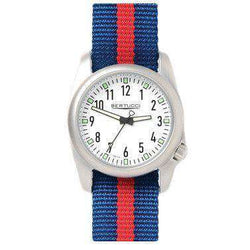 Watches - Ventara Sport Watch In Blue And Red Stripe Band With White Dial By Bertucci - FINAL SALE