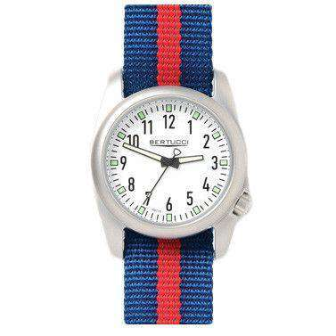 Ventara Sport Watch in Blue and Red Stripe Band with White Dial by Bertucci - FINAL SALE