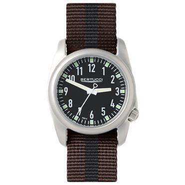 Ventara Sport Watch in Brown and Black Stripe Band with Black Dial by Bertucci - FINAL SALE