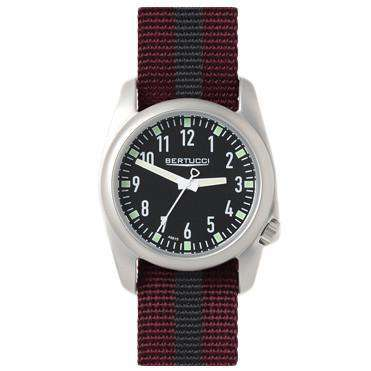 Ventara Sport Watch in Crimson and Black Stripe Band with Black Dial by Bertucci - FINAL SALE