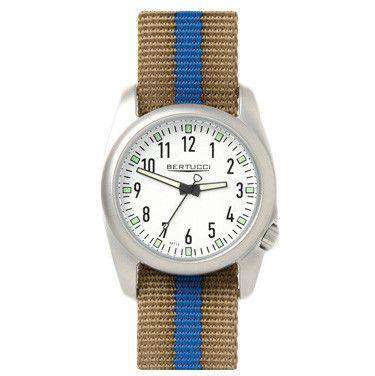 Ventara Sport Watch in Khaki and Blue Stripe Band with White Dial by Bertucci - FINAL SALE