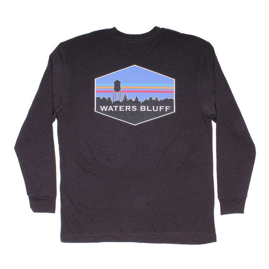 Waters Bluff Midnight Tower Long Sleeve Tee in Charcoal