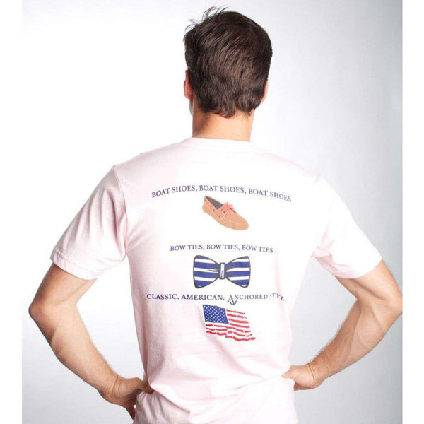 Boat Shoes, Bow Ties and America Tee Shirt in White by Anchored Style  - 1