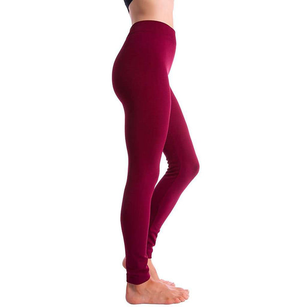 Country Club Prep Ultra-Soft Seamless Fleece Lined Leggings in Wine