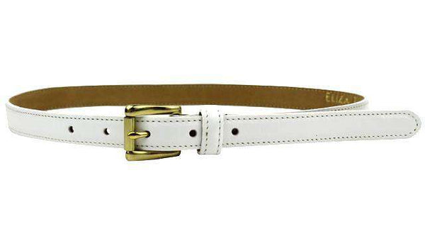Leather Skinny Belt in White by Eliza B