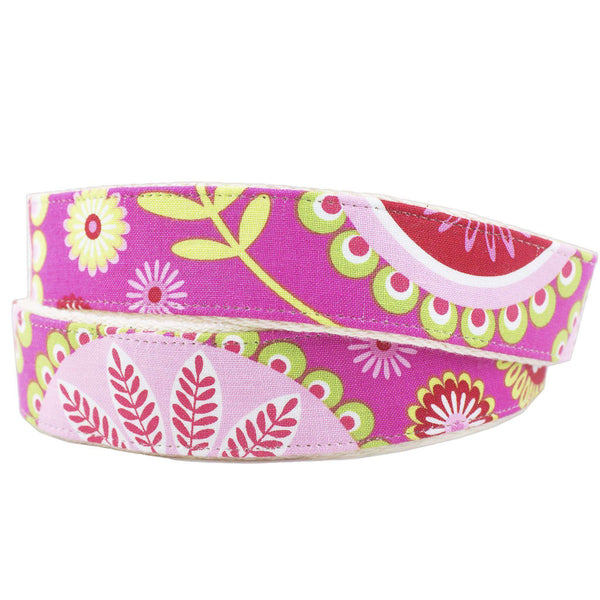 Pink Paisley Leather Tab Belt on Natural Canvas by Country Club Prep