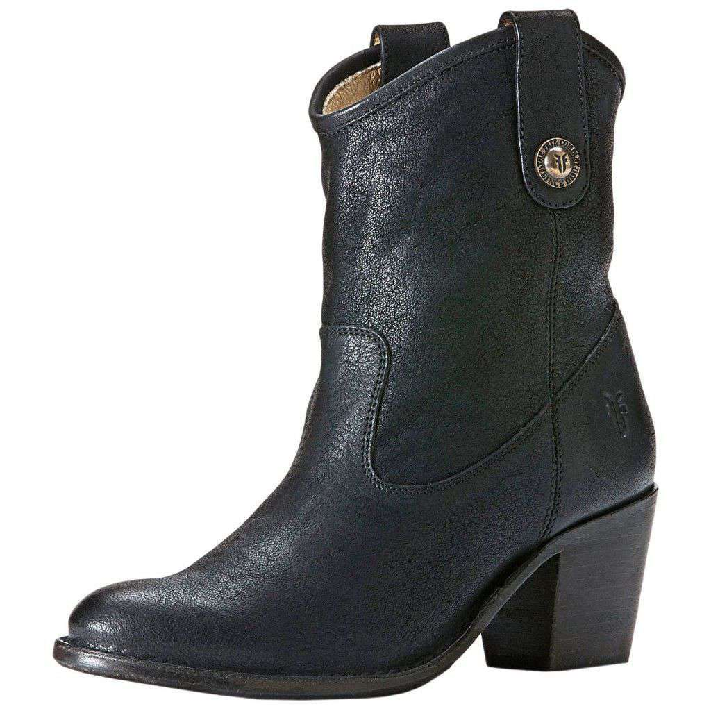 Jackie Button Short Boot in Black by