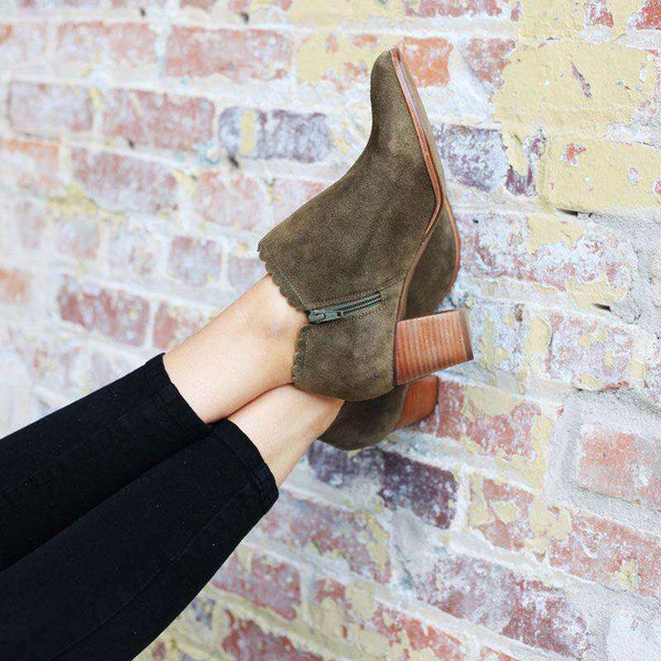 Marianne Suede Booties in Olive by Jack Rogers
