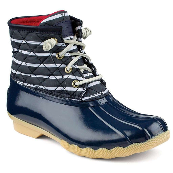 Women's Saltwater Duck Boot in Navy Stripe and Navy by Sperry