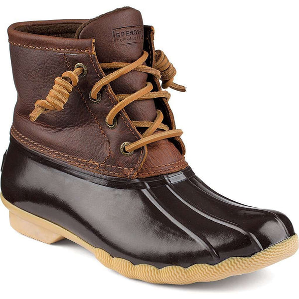 Women's Boots - Women's Saltwater Duck Boot In Tan/Dark Brown By Sperry