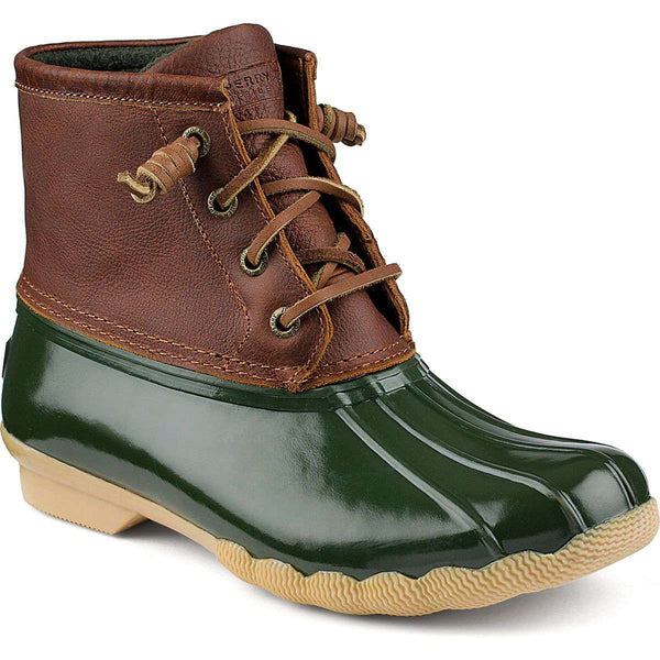 Women's Boots - Women's Saltwater Duck Boot In Tan/Green By Sperry