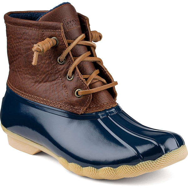 Women's Boots - Women's Saltwater Duck Boot In Tan/Navy By Sperry