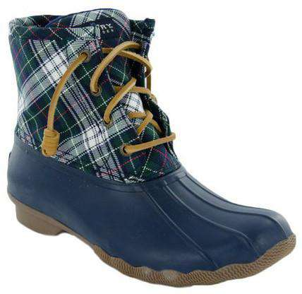 dd883e71c Sperry Women's Saltwater Quilted Duck Boot in Navy/Green Plaid – Country  Club Prep