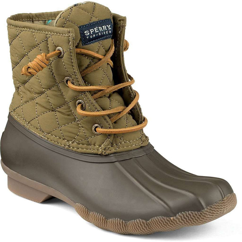 Women's Boots - Women's Saltwater Quilted Duck Boot In Olive Green By Sperry
