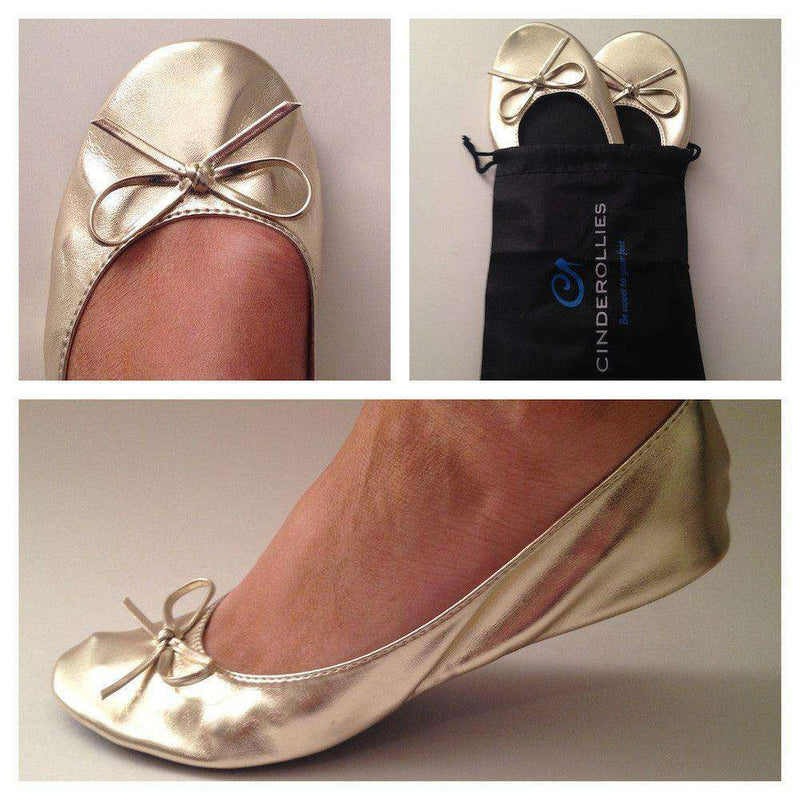 Women's Flats - Ballet Flat In Gold By Cinderollies - FINAL SALE