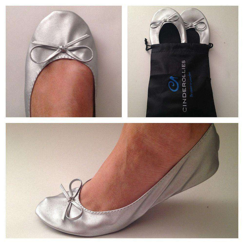 Women's Flats - Ballet Flat In Silver By Cinderollies - FINAL SALE