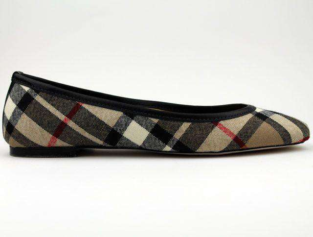 Women's Flats - Ballet Flat In Thomas Camel Plaid By Eliza B.