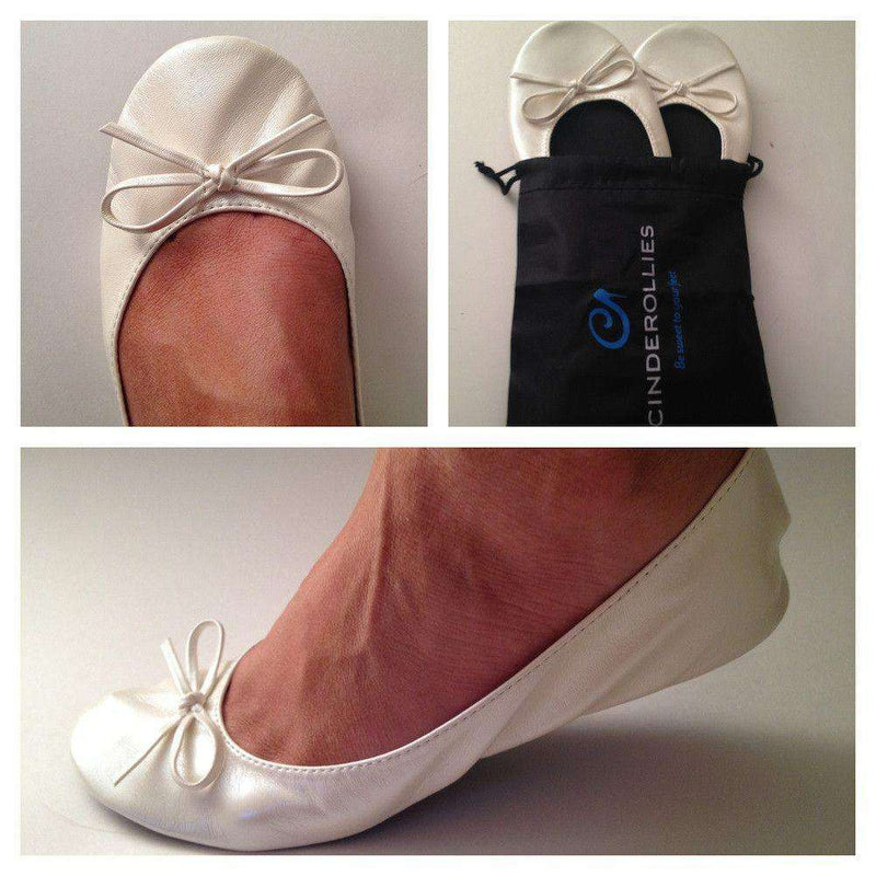 Women's Flats - Ballet Flat In White By Cinderollies - FINAL SALE