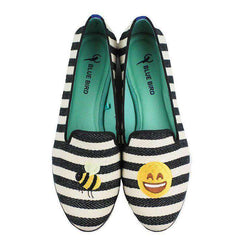 Women's Flats - Bee Happy Loafer In Black And White By Blue Bird Shoes - FINAL SALE