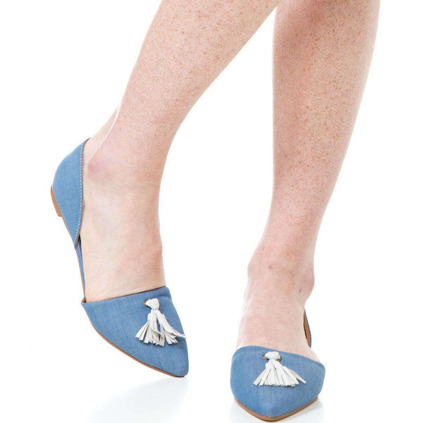 Women's Flats - Caroline Flat In Cornflower Blue By Southern Proper - FINAL SALE