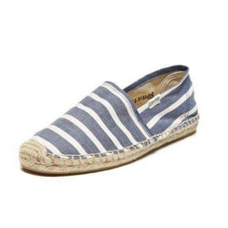 Women's Flats - Classic Stripe Espadrille In Navy And White By Soludos - FINAL SALE