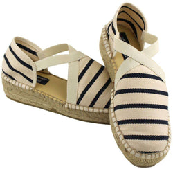 Women's Flats - Espadrille In White And Navy Stripes By Saint James