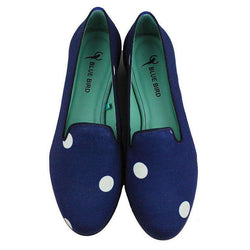 Women's Flats - Navy Dots Loafer By Blue Bird Shoes - FINAL SALE