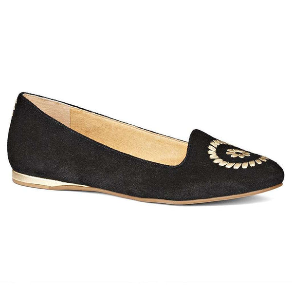 Women's Flats - Rebecca Suede Flat In Black By Jack Rogers
