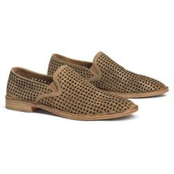 Women's Footwear - Ali Perf In Gold Italian Metallic Suede By Trask