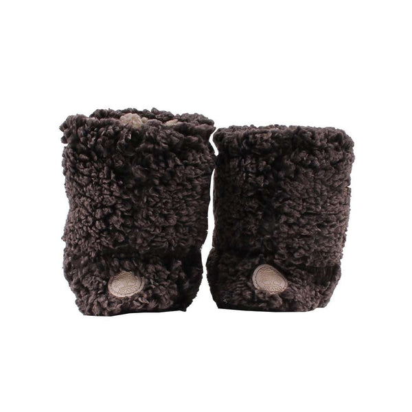 Women's Footwear - Sherpa Fleece Booties In Charcoal And Oatmeal By Live Oak