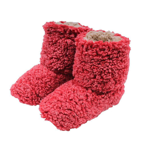 Women's Footwear - Sherpa Fleece Booties In Cranberry And Oatmeal By Live Oak