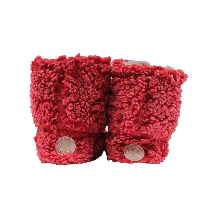 Sherpa Fleece Booties in Cranberry and Oatmeal by Live Oak