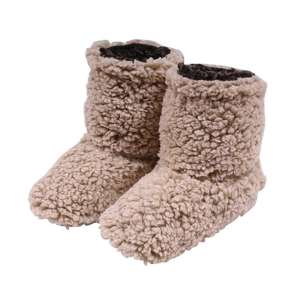 Women's Footwear - Sherpa Fleece Booties In Oatmeal And Charcoal By Live Oak
