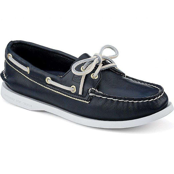 Women's Footwear - Women's Authentic Original Metallic Tipped Boat Shoe In Navy & Gold  By Sperry