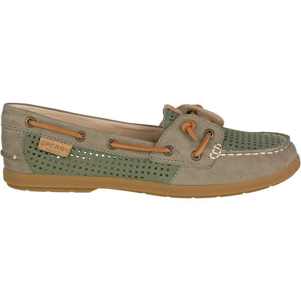 Women's Coil Ivy Perforated Boat Shoe in Olive by Sperry - FINAL SALE