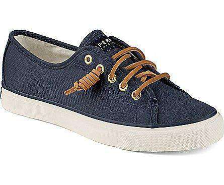 Women's Footwear - Women's Seacoast Canvas Sneaker In Navy By Sperry - FINAL SALE