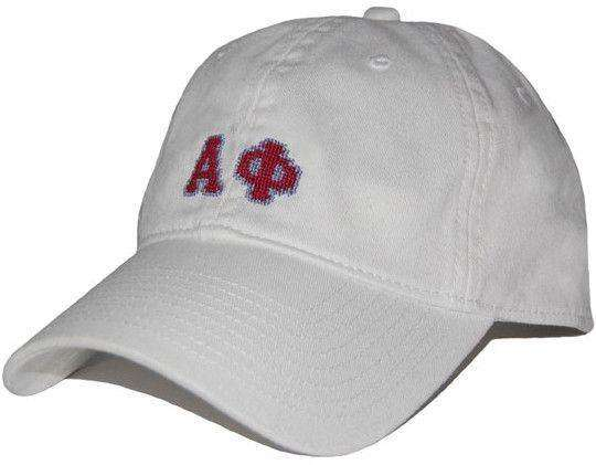 Women's Hats/Visors - Alpha Phi Needlepoint Hat In White By Smathers & Branson