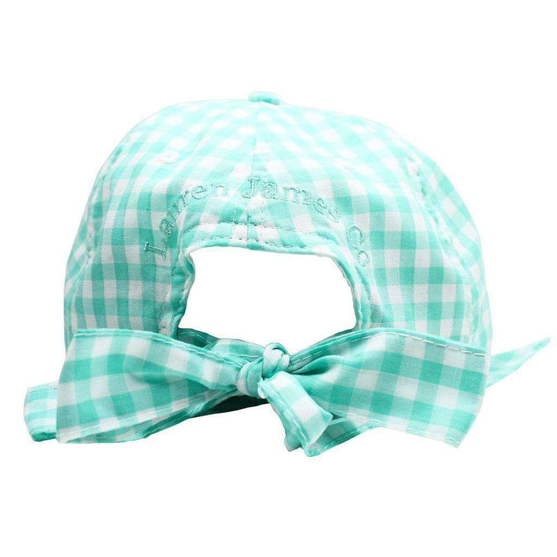 Checked Bow Hat in Mint Gingham by Lauren James - FINAL SALE
