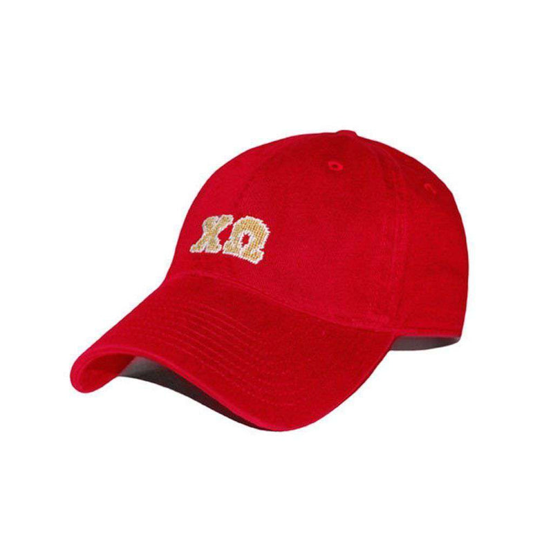 Women's Hats/Visors - Chi Omega Needlepoint Hat In Red By Smathers & Branson