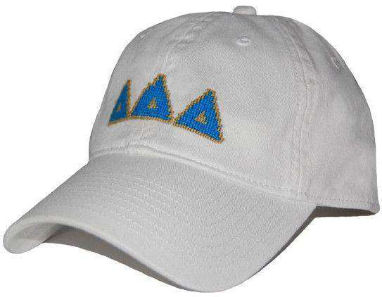 Delta Delta Delta Needlepoint Hat in White by Smathers & Branson