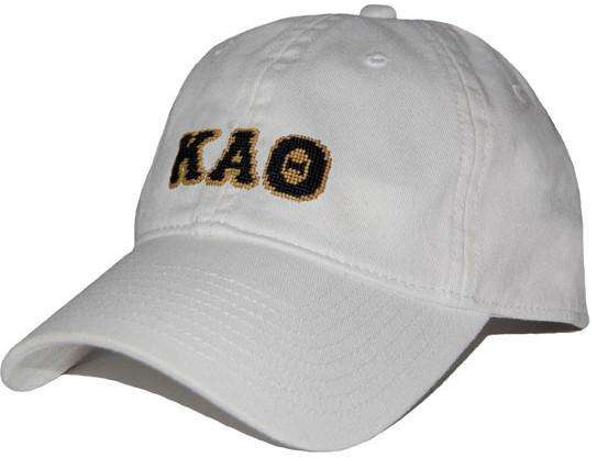 Women's Hats/Visors - Kappa Alpha Theta Needlepoint Hat In White By Smathers & Branson