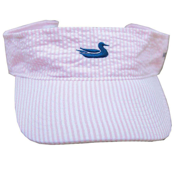 Women's Hats/Visors - Limited Edition Pink Seersucker Visor With Navy Duck By Southern Marsh