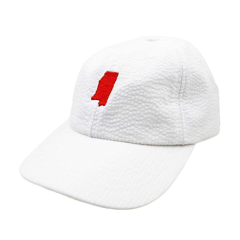 Women's Hats/Visors - Mississippi Seersucker Hat In White With Red By Lauren James - FINAL SALE
