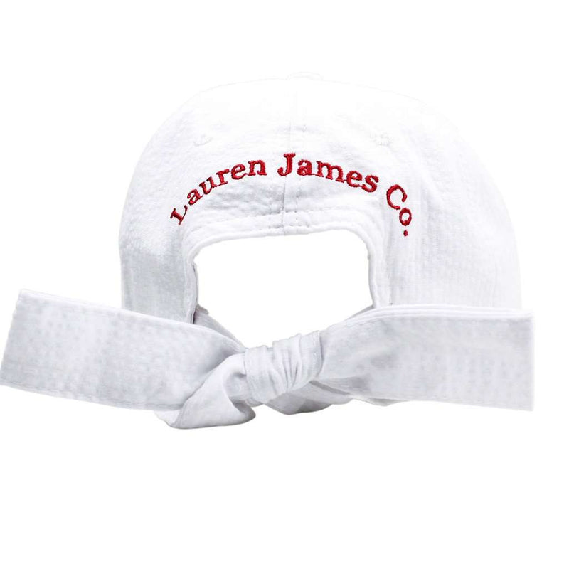 Oklahoma Seersucker Bow Hat in White with Red by Lauren James - FINAL SALE