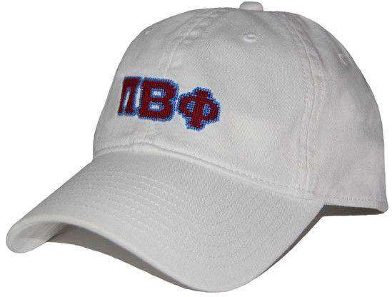Pi Beta Phi Needlepoint Hat in White by Smathers & Branson