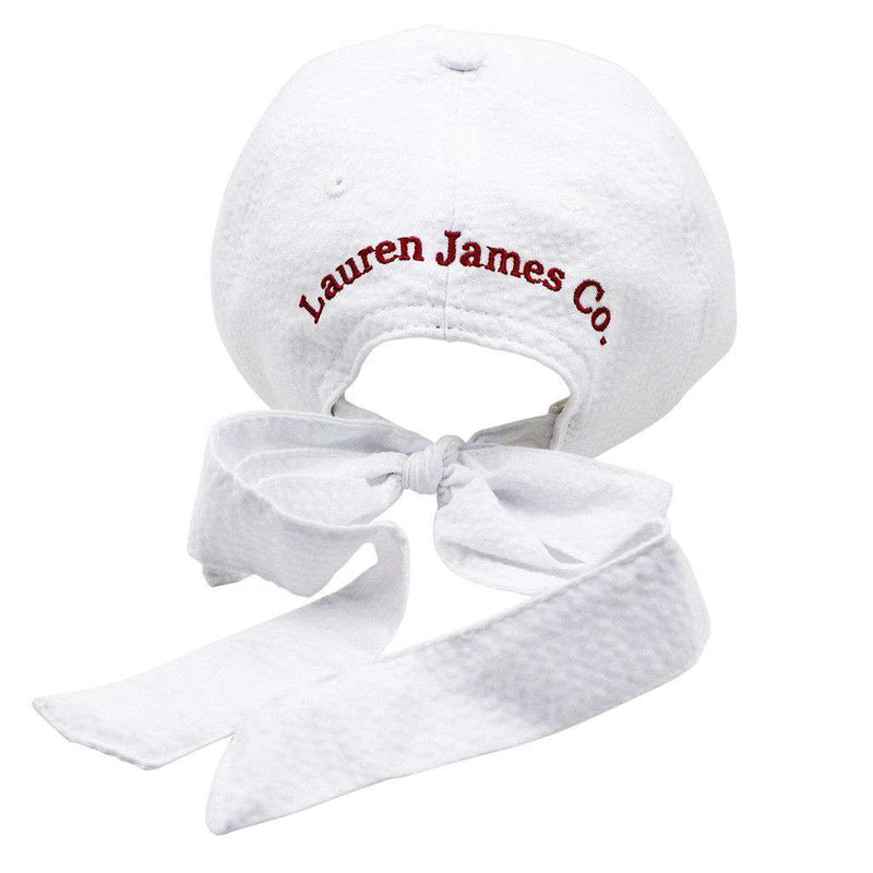 South Carolina Seersucker Hat in White with Crimson by Lauren James - FINAL SALE