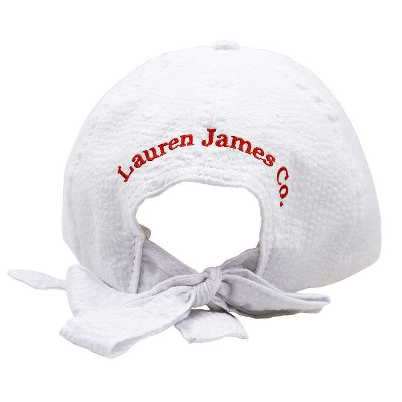 Texas Seersucker Hat in White with Red by Lauren James - FINAL SALE