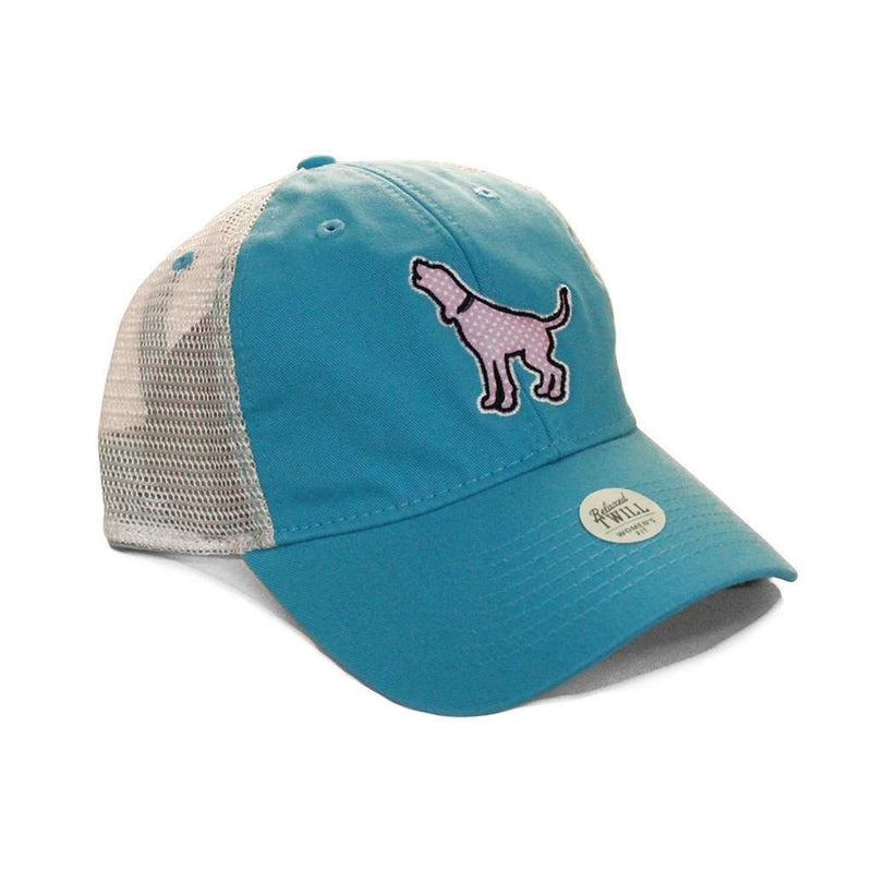 Women's Polka Hound Trucker Hat in Aqua Blue by Southern Fried Cotton